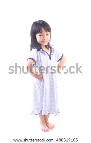 girl in pajamas isolated on white background