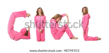 Girl in pink clothes  making word GIRL, collage - stock photo