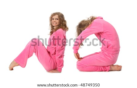 Girl in pink clothes  making word NO, collage - stock photo