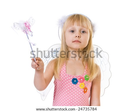 girl in pink dress and magic wand