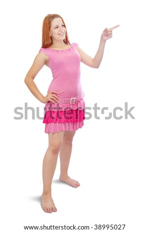 girl in pink dress pointing away, over white background