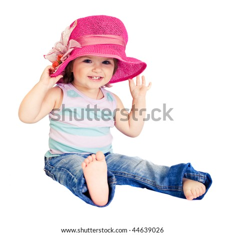 girl in pink hat isolated - stock photo