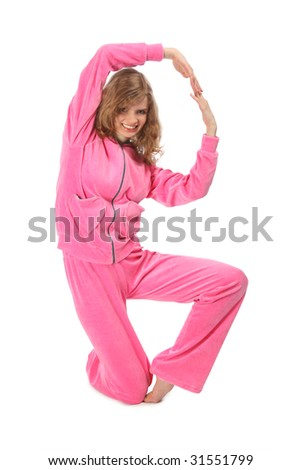 Girl in pink sport clothes represents  letter B - stock photo