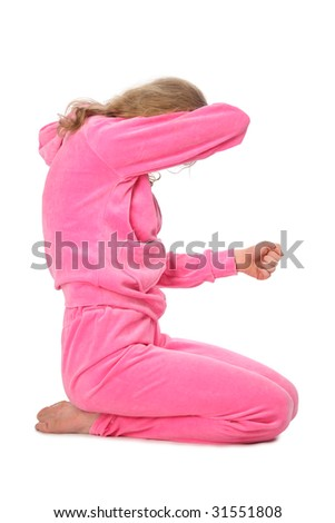 Girl in pink sport clothes represents  letter E - stock photo