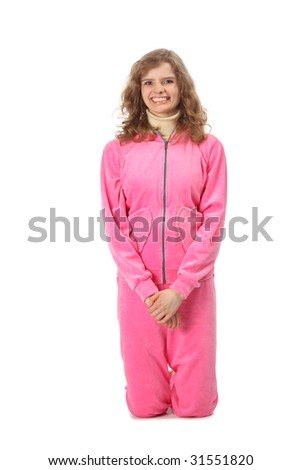 Girl in pink sport clothes represents  letter I - stock photo