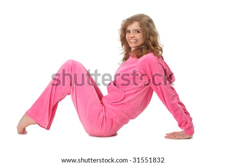 Girl in pink sport clothes represents  letter M - stock photo