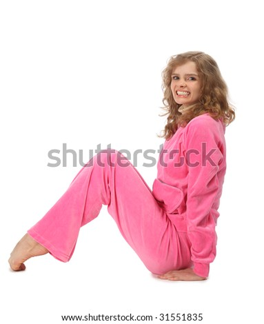 Girl in pink sport clothes represents  letter N - stock photo