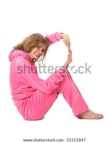 Girl in pink sport clothes represents  letter R - stock photo