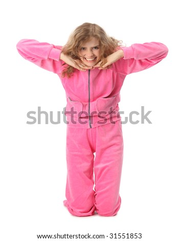 Girl in pink sport clothes represents  letter T - stock photo