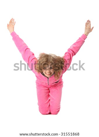 Girl in pink sport clothes represents  letter Y - stock photo