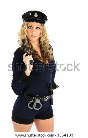 Girl in police uniform with gun
