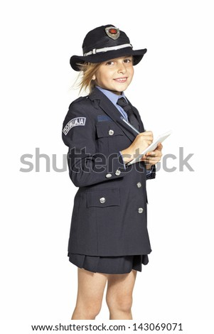 girl in police uniform writing a fine