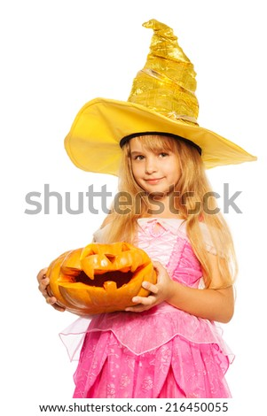 Girl in princess dress hold Halloween pumpkin