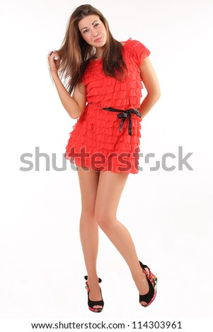 girl in red - stock photo