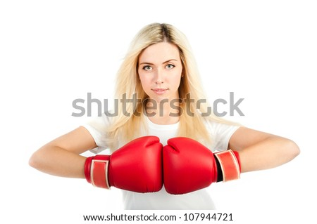 girl in red boxing gloves on a white background - stock photo