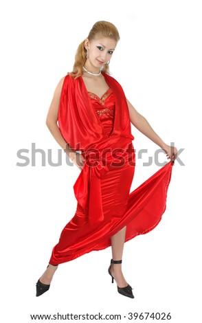 girl in red dress - stock photo