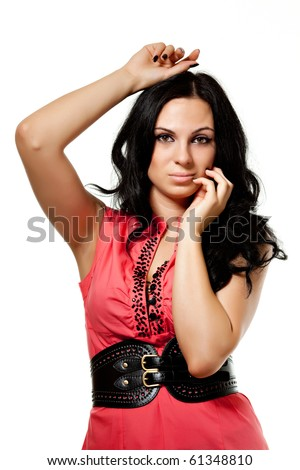 girl in red on white background - stock photo