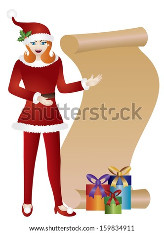 Girl in Red Santa Suit Standing with Chalkboard and Presents Isolated on White Background Raster Illustration - stock photo