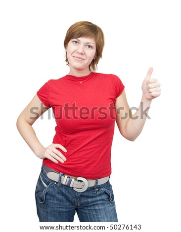 girl in red with thumb up, over white background - stock photo