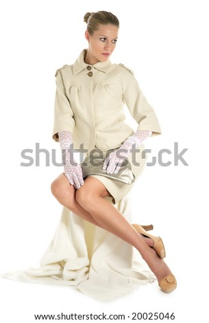 Girl in 50's style on white background