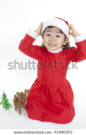 Girl in Santa clothes