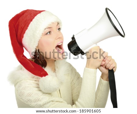 girl in santa hat with a megaphone , isolated on white background