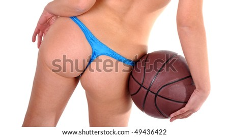 Girl in sexy underwear holding a basket ball. - stock photo