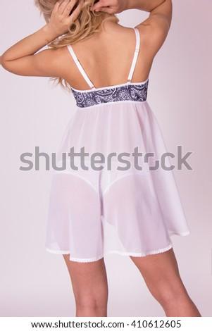 Girl in sexy white lingerie set  - stock photo