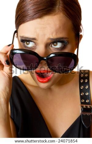 Girl in shock - stock photo