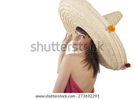 Girl in sombrero - stock photo