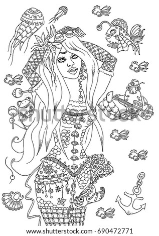 Girl In Steam Punk Style, Mermaid, Hand Drawn Coloring Page