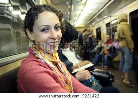 girl in subway metro - stock photo