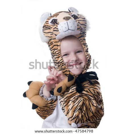 girl in suit of tiger - stock photo