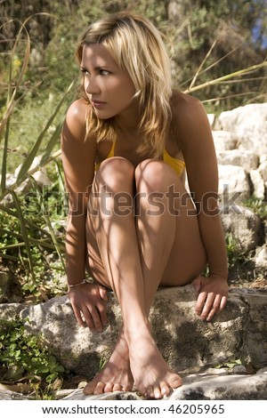 Girl in summer shadow - stock photo