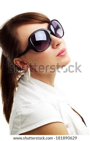 girl in sunglasses isolated on white