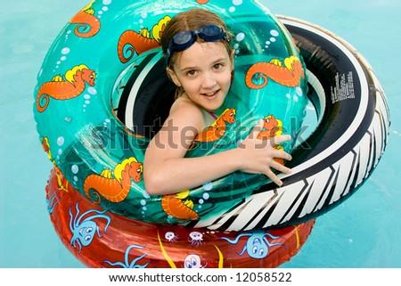 girl in swimming pool - stock photo