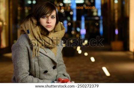Girl in the early winter time - stock photo