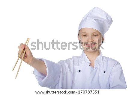 Girl in the form of chef with chopsticks isolated on white - stock photo
