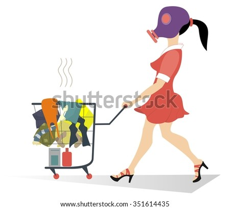 Girl in the gas mask wheels a trolley with dirty laundry - stock photo