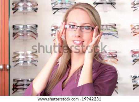 girl in the glasses - stock photo