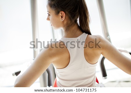 Girl in the gym - stock photo