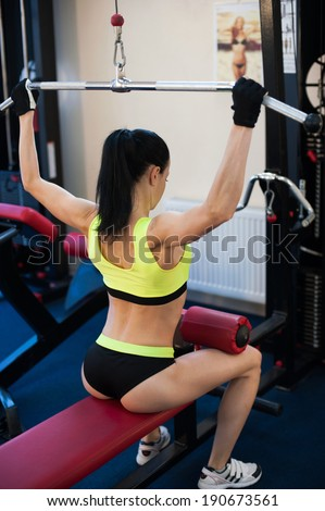 Girl  in the gym. sexy and power. Preparing to fly