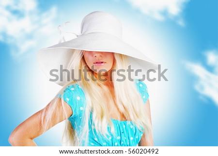 girl in the hat, sky - stock photo