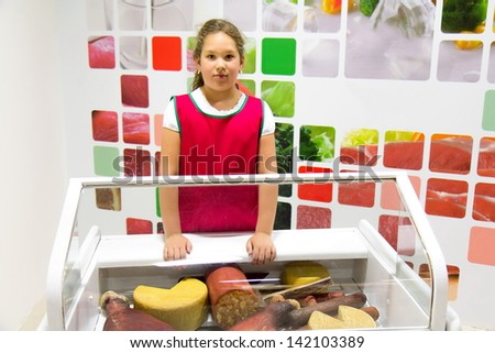Girl in the market - stock photo