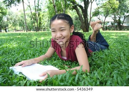 Girl in the park - stock photo
