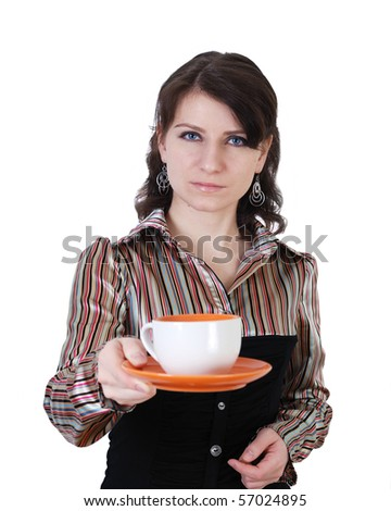 girl in the photograph invites all tea - stock photo