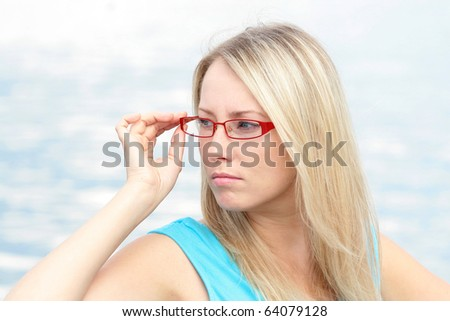 girl in the red glasses - stock photo