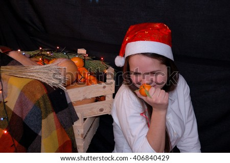 Girl in the scenery of Christmas and New Year - stock photo
