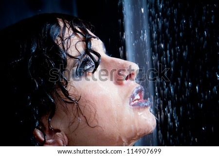 Girl in the shower with water drops set - stock photo
