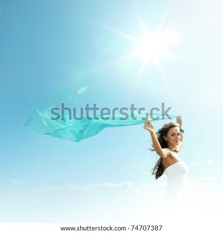 girl in the sky - stock photo